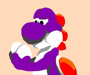 Worried Purple Yoshi With Eggs