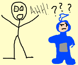 Man is scared of blue telletubby
