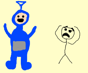 stickman scared of blue Teletubby