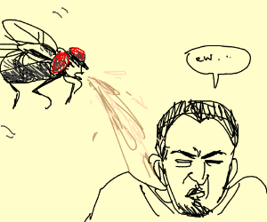 guy getting puked on by a fly