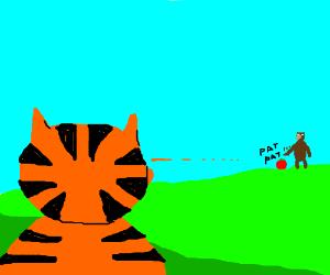 Garfield watches a bear pat a tomato far away