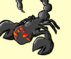a scorpion with a bunch of red eyes