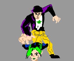 a man tries to grab women, (is that jotaro)