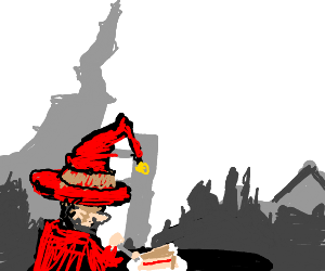 Wizard cat eats cake