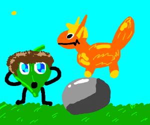 A leaf kid,  a rock,  And a fox