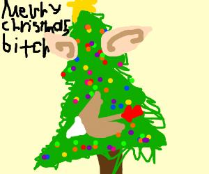 a tree with elf ears fires an arrow