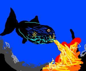 A durgon breathing fire
