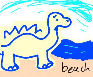 Depressed giant blue dino on beach