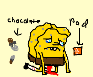 Spongebob is sad about his time of the month