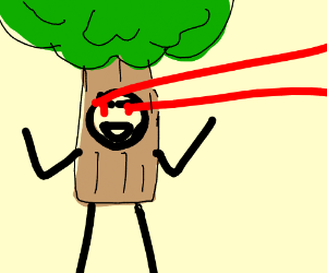 A living man-tree-thing with lazer eyes