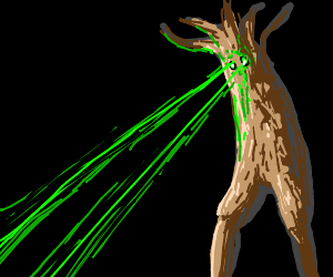 Tree-man shooting lasers from his eyes