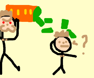 Man tipping money over a confused man