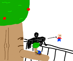 guy being assassinated by tree