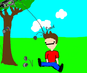 A console on a tree throws a rock at a man.