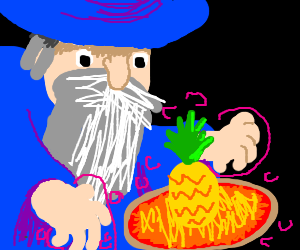 Pineapple-ring wizard making pizza
