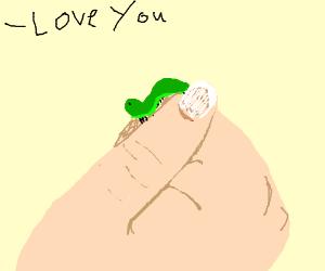 Man loves caterpillar