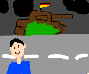 German Panzer sneaks up on someone