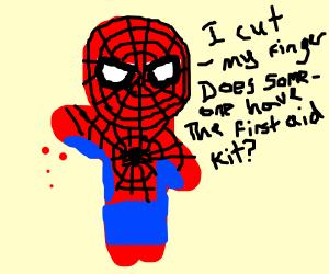 bleeding spiderman needs first aid kit