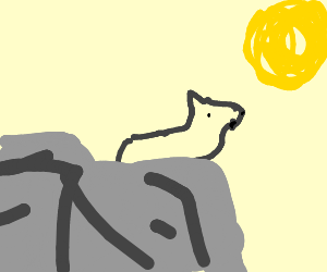 Legless wolf howling at the moon