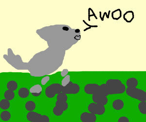 legless wolf howls at the moon