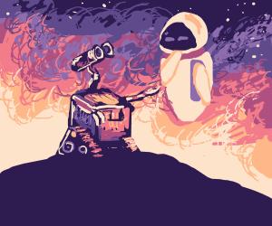 Wall-E reaching hand to alienfriend in space