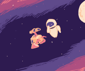 Eva and Wall-e floating together through space