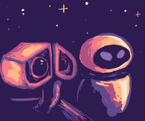 wall-e and eve strolling through space