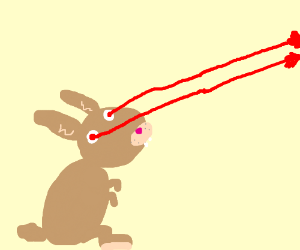 a brown rabbit with laser vision