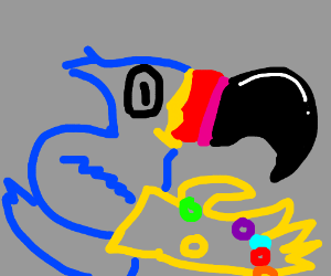 toucan sam holding the infinity gauntlet.