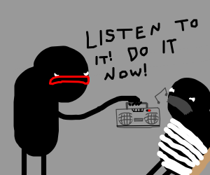 Guy forcing someone else to listen to music