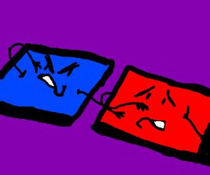 blue attacks red