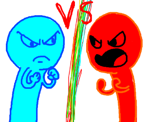 Blue guy VS his red twin