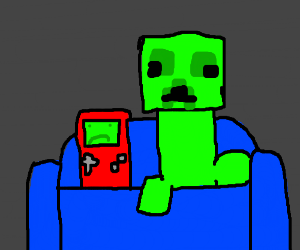 "Nintendo ""sad boy"" with Minecraft creeper"