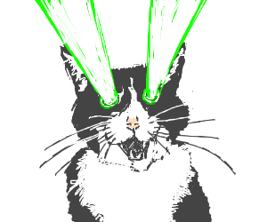 cat shooting lazers out of his eyes