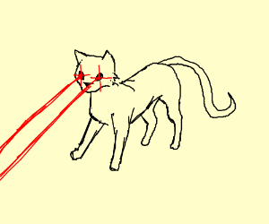 A black white cat with laser eyes