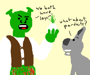 Shrek explains donkey that onions have layers