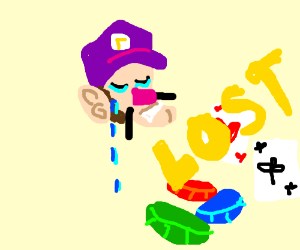Waluigi is real sad cause he's losing at poker