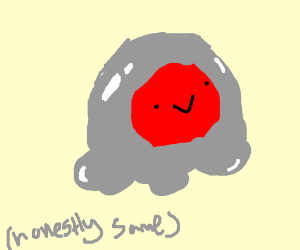 some grey blob w/ red face what the hell lmao
