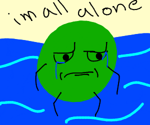 giant green blob floating in the ocean