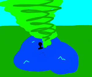 man in lake swept up by green tornado