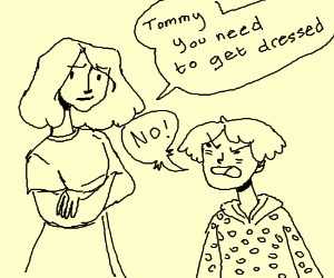 Little boy doesn't want to dress himself
