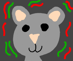 mouse with red and green confetti surrounding
