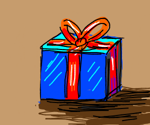 a lovely blue gift with a red bow