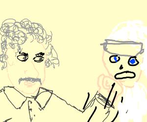Albert Einstein punching the future
