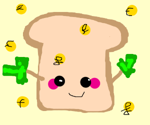 kawaii loaf of bread with money