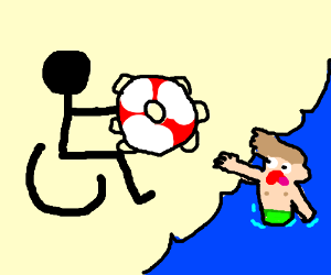 Wheelchair helps the shirtless kid in theocean