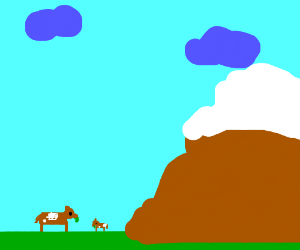 Cows eat by mountain
