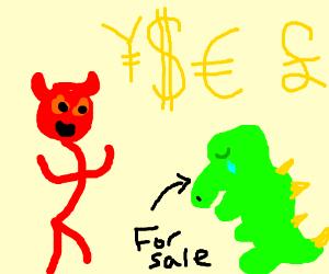 devil woman wants to sell a sad dinosaur