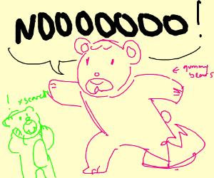 gummy bear caught in bear trap, scared friend