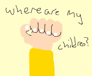 very hairy hand fistbump with yellow sleeve